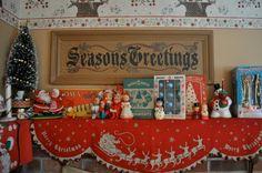 Vintage Christmas mantle decor <3