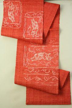 Mottled Red Nagoya Obi (Hassun), Weaved Rabbit Pattern / 杢赤地 織りのウサギ柄 お太鼓柄八寸名古屋帯   #Kimono #Japan http://www.rakuten.co.jp/aiyama/