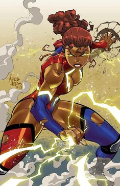 Drawing Superhero Keisha Carter: Mega Woman by Marcus Williams - Sexy Black Art, Black Love Art, Black Girl Art, Black Anime Characters, Superhero Characters, Comic Books Art, Comic Art, Comic Book Girl, Black Comics