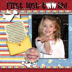 First Lost Tooth:  I like the concept of the story with pictures for a scrapbook or baby book page :) scrapbooking pages for boys, scrapbook lost tooth, scrapbooking pages lost teeth, scrapbook lost a tooth, scrapbook layouts baby boy, lost tooth scrapbook