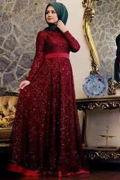 Minel Aşk Bordo Beyza Abiye Elbise