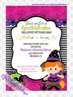 Little Witch Halloween Birthday Invitation by LillysPartyBoutique, $15.00