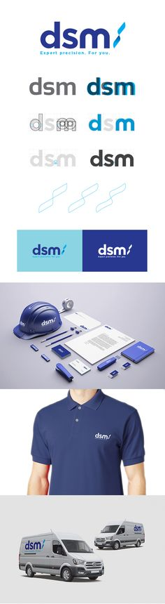 A new clean & modern identity for forward thinking metal company DSM. Design de Logo et d'identité Corporate Identity Design, Brand Identity Design, Branding Design, Visual Identity, Logistics Logo, Cleaning Company Logo, Web Design, Graphic Design, Logo Creation