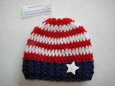 Patriotic American Flag baby boy beanie hat dark by OtiliaBoutique, $18.00