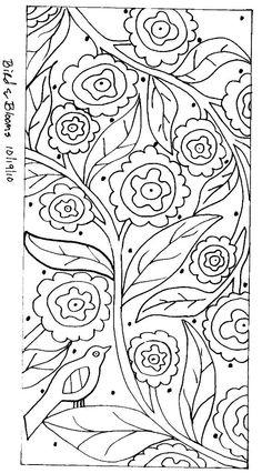 RUG HOOK PAPER PATTERN Bird & Blooms ABSTRACT FOLK ART Karla G | eBay
