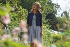 classic pin stripe dress in blue with cute cropped cardigan by bibico..now i just need the sun!!!!!