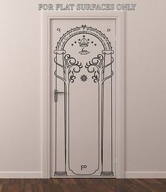 LORD OF THE RINGS GATES OF MORIA HOBBIT DOOR OR WALL ART DECOR DECAL in Home & Lord of the Rings the Mines of Moria doors of Durin painted on ...