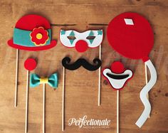 7 Felt Carnival Photo-Booth Props | Circus Photo Props | Carnival Photo Props | Balloon Photo Prop