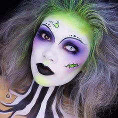 The makeup makes this a classic '80s Halloween costume, Beetlejuice, Beetlejuice, Beetlejuice.  | #Halloween #MakeUp