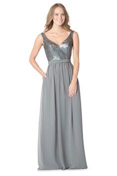 Bari Jay 1613: A floor-length bridesmaid dress with sequin top and chiffon skirt.