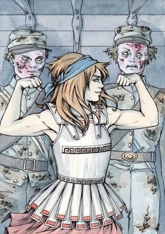 Clarisse La Rue with zombie soldiers (Percy Jackson & the Olympians: The Sea of Monsters) Percy Jackson Fandom, Percy Jackson Crossover, Percy Jackson Fan Art, Percy Jackson Books, Magnus Chase, Thalia Grace, Hazel Levesque, Piper Mclean, Annabeth Chase