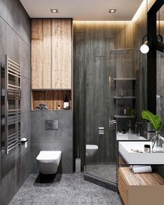 Monochrome bathroom in project There are three shades of color . - Design Cointrend News Modern Small Bathrooms, Modern Bathroom Decor, Budget Bathroom, Amazing Bathrooms, Bathroom Ideas, Master Bathroom, Bathroom Design Luxury, Modern Bathroom Design, Home Interior Design