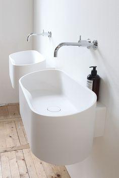 Ovales Hänge- Waschbecken aus Cristalplant® FUSE - Not Only White
