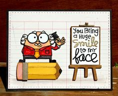 Card by SPARKS DT Larissa Heskett PS stamp sets: Smarty Pants, Spreading Sunshine; PS dies: Smarty Pants Icons, Easel