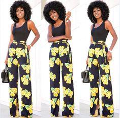 Strap Sleeveless Vest Flower Print Long Pants Two Pieces Set
