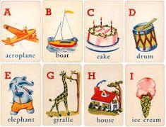 Image result for vintage alphabet cards