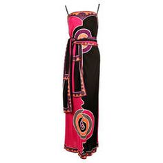 1970's EMILIO PUCCI silk printed jersey dress with matching belt