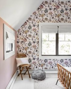 Cute little corner for a cute little person. Girls Bedroom Wallpaper, Bathroom Wallpaper, Buy Wallpaper Online, Wallpaper Samples, New Orleans Decor, Artemis, Clawfoot Bathtub, Best Shows Ever, Valance Curtains