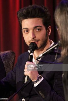 Singer Gianluca Ginoble of Il Volo speaks onstage at The GRAMMY Museum on March 28, 2016 in Los Angeles, California.