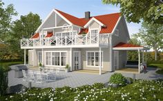 Härliga uteplatser och charmigt traditionell stil Outside Paint Colors, Red Roof House, German Houses, Sims Building, Backyard Pool Designs, New England Homes, House Paint Exterior, Winter House, Next At Home