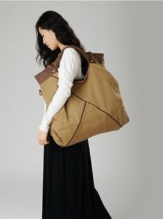 Genuine Cow Leather Women's Leather Bag Canvas Bag by DDLeather