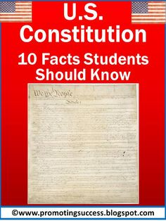 Constitution Day Activities: U.S. Constitution facts and activities. Please check out our blog for tons of teaching ideas! #promotingsuccess https://www.teacherspayteachers.com/Product/Money-1052472