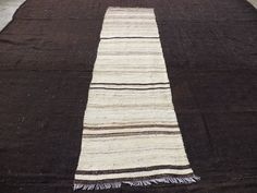 "Natural Wool And Colours Stripe Rug Runner,9""x2,5"" Feet 274x74 Cm Old Handwoven Cream And Brown Striped Anatolian Kilim Rug Runner."