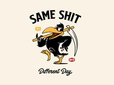 Same Shit t-shirt design illustration graphics vector design birds Vintage Cartoon, Cartoon Art, Vintage Logos, Retro Logos, Vintage Typography, Design 24, Logo Design, Design Design, Graphic Design