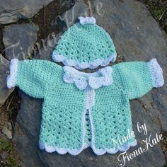 Baby Jacket & hat set  Newborn by madebyFionaKate on Etsy