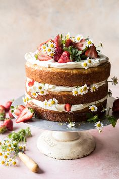 Strawberry Chamomile Naked Cake - Layer and Sheet Cakes - Desserts - Dessert Recipes Food Cakes, Cupcake Cakes, Baking Cupcakes, Cake Cookies, Super Cookies, Muffin Cupcake, Rose Cupcake, Cake Fondant, Cake Baking