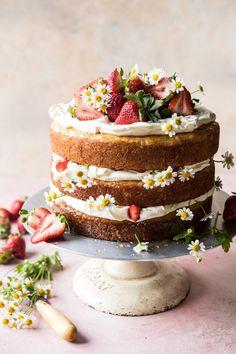Strawberry Chamomile Naked Cake: @halfbakedharvest.com
