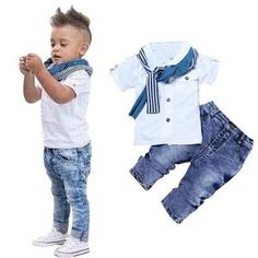 Boys Trendy Fashion Pants Shirt and Scarf Matching Outfit