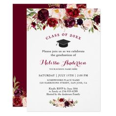 Class of 2019 Burgundy Red Floral Graduation Party Invitation Graduation invitations and celebratory graduation invites for graduates and grad parties. Graduation Party Themes, Graduation Decorations, Graduation Party Invitations, Grad Parties, Graduation Gifts, Graduation Ideas, Watercolor Invitations, Floral Invitation, Custom Invitations