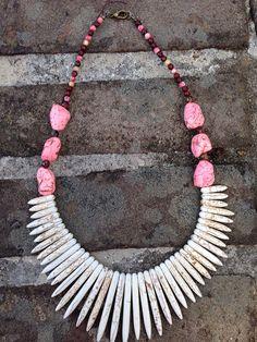 Pink spiky Lady howlite spike  by AdornbyPriscilla on Etsy, $30.00