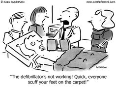 The defibrillator's not working! Quick, everyone scuff your feet on the carpet! By Mark Anderson; Andertoons purchase/download at http://www.andertoons.com/medical/cartoon/4909/defibrillators-not-working-everyone-scuff-your-feet-on-carpet/# #afib