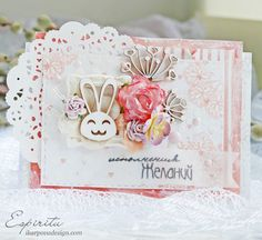 Easter card with funny bunny ;) used #scrapbox chipboard, #lesiazgharda stamps and #Glitz paper