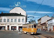 Valmet RM 2 no. 49 on line 1 to the harbour at Market Square in Turku, 1959.