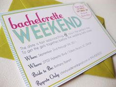 @dodelinedesign created this FAB bachelorette invitation... how SWEET! love the colors! @Sarah Early