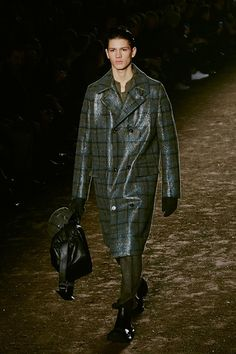 Glossy check wool coat at Ermenegildo Zegna AW15 Milan. See more here: http://www.dazeddigital.com/fashion/article/23251/1/ermenegildo-zegna-aw15