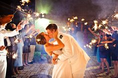 The guests line the way with sparklers for their hail and far well!