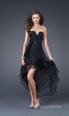 A-Line Chiffon Strapless Tea Length Dress Charm85690