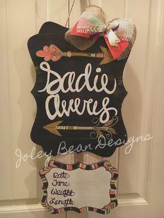 Joley Bean Designs, baby girl door hanger, arrows, feathers