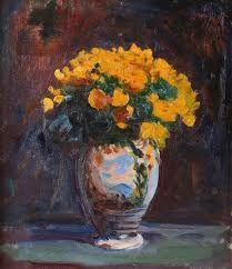 Leon Wyczółkowski - Buttercups Dutch Still Life, Bloomsbury Group, Realism Art, Dark Backgrounds, 2 Colours, Impressionism, Flower Art, Art Nouveau, Flower Paintings
