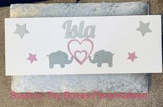 Elephants and hearts and stars Personalised Toy Box, Elephant Love, Toy Boxes, Elephants, Hearts, Toys, Activity Toys, Clearance Toys, Toy Chest