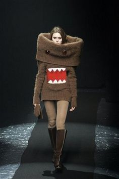 Domo-kun sweater dress. Warning: might provoke guard dogs. Okay...seriously! Have they run out of ideas for the run way!? Who would really wear this on any other day but Halloween?