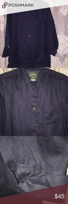 Linen blazer Ralph Lauren button down linen blazer in navy blue. Has a pocket on the chest and two pockets on the bottom. Cuffed up sleeves! Worn only a few times, like new! Lauren Ralph Lauren Jackets & Coats Blazers