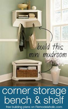 Build a Mini Mudroom Corner Bench and Shelf with Storage @Remodelaholic