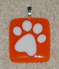 Fused Glass Paw Print Pendant orange and white by KarlaElyGlass
