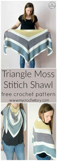 Triangle Moss Stitich Shawl - free crochet pattern for the moss stitich lovers by www.mycrochetory.com