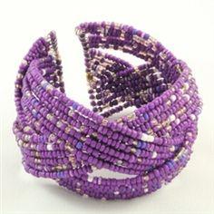 purple beaded cuff bracelet $4.99